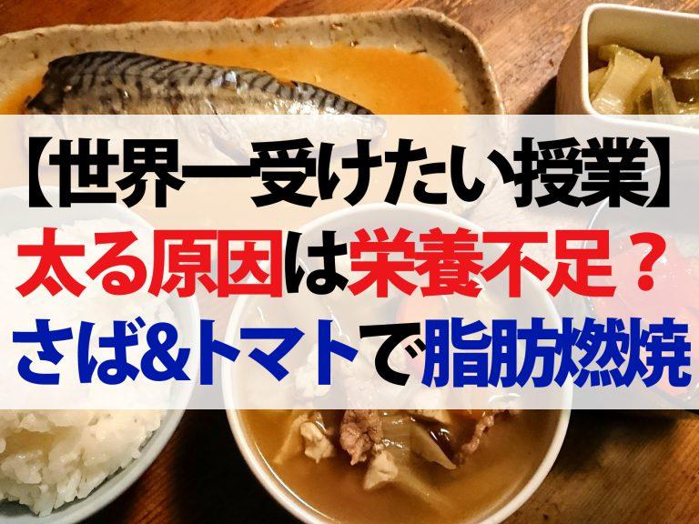 【世界一受けたい授業】太る原因は栄養不足(6月8日放送)!?さば缶&トマトで脂肪燃焼UP【太らない栄養の取り方と調理法】