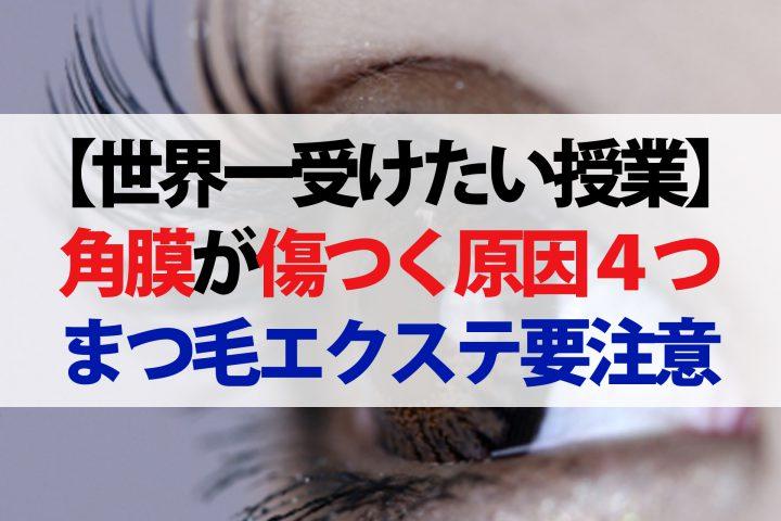 【世界一受けたい授業】傷ついた角膜の修復法!マツエクする人はまつ毛ダニに注意