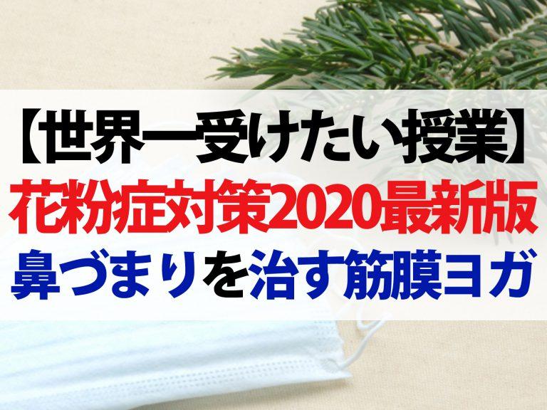 【世界一受けたい授業】花粉症対策2020最新版!花粉症筋膜ヨガで鼻づまりを解消