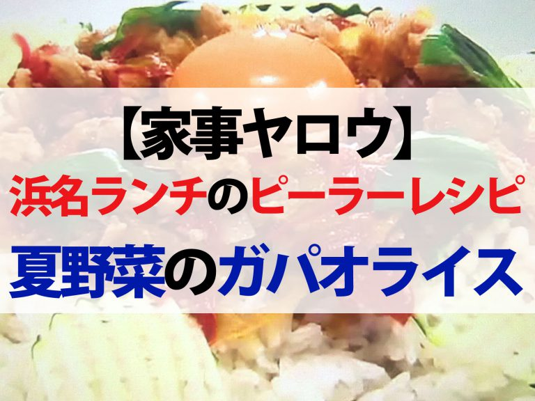 【家事ヤロウ】浜名ランチのピーラーレシピ|夏野菜のガパオライス&とうもろこしの冷製茶碗蒸し