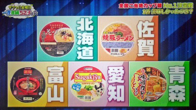 【ザワつく金曜日】第1回ご当地カップ麺No.1決定戦まとめ|優勝カップラーメンは富山ブラック!