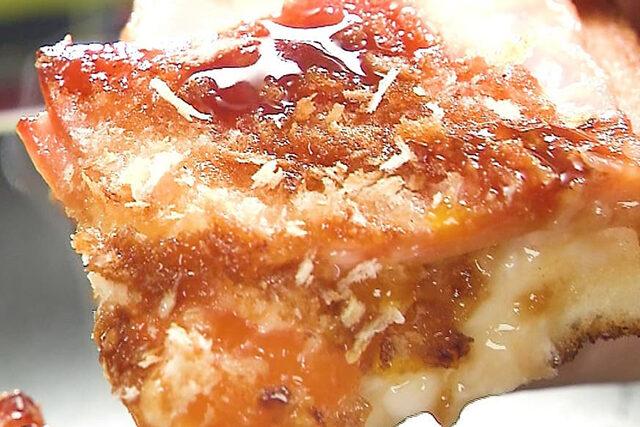 【家事ヤロウ】揚げないハムカツエッグトーストのレシピ|春パン祭りトースト
