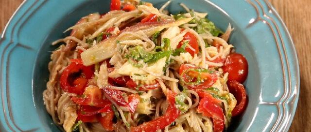 【土曜は何する】Atsushiのベジたんサラダ『焼きサバと夏野菜のヌードルサラダ&万能Atsushiダレ』のレシピ 免疫力アップ・ダイエット・腸活に◎